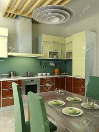 modern kitchen interior 3d rendering stock photo picture and