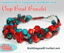 bead bracelet crochet images Southwestern turquoise and red coral chip bead bracelet knitting jpg