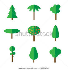 set simple flat tree icons stock vector 236914042
