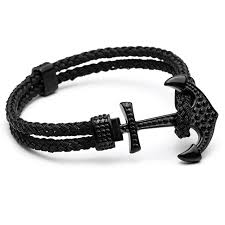 anchor braided bracelet images Mcllroy luxury gold stainless steel braided rope wristband mens jpg