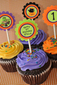 Halloween Birthday Party Cakes by Halloween Cupcake Toppers 1st Birthday Halloween Birthday