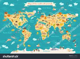animal map kid world poster children stock illustration 651184525