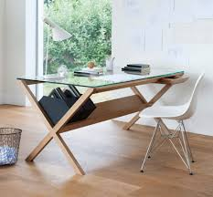 Modern Office Table With Glass Top Furniture Computer Desk With Glass Top And Printer Shelf Using