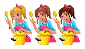 cuisine dessin animé fille avec une cuillère cuisine trois personnages de dessin animé