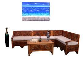 TeakWoodSmallLogDesignLShapeSofaSet Nostalgia Lifestyle - Teak wood sofa set designs