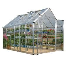 Polycarbonate Sheets Lowes by Shop Palram 12 25 Ft L X 8 1 Ft W X 8 54 Ft H Greenhouse At Lowes Com