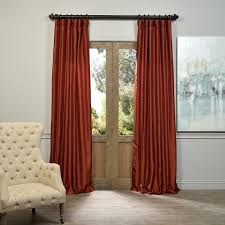 Burnt Orange Curtains Sale Exclusive Fabrics Burnt Orange Vintage Faux Dupioni Silk Curtain