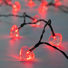 Fairy Lights Outdoor by Red Led Heart Indoor U0026 Outdoor Battery Fairy Lights With Timer