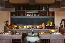 cool wooden thai style kitchen layout design at our spice spoons