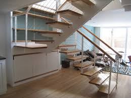 Modern Stair Banister Interior Center Stringer Stair With Wooden Steps And Wire