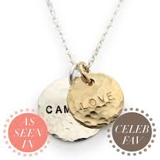 Personalized Hand Stamped Jewelry Gold And Silver Hammered Name Necklace Personalized Jewelry