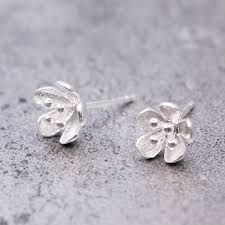 Handcrafted Sterling Silver Jewellery - handmade sterling silver flower earring studs nunu jewellery