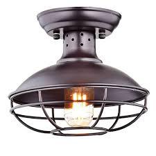 Semi Flush Mount Ceiling Light Dazhuan Industrial Vintage Metal Cage Pendant Lighting Semi Flush