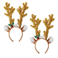 gold sequined reindeer antlers headbands set of 2 christmas