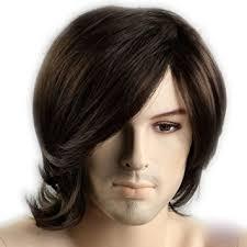 long hair styles with swoop bangs black hair amazon com coolmedium length dark brown slight curly wave side