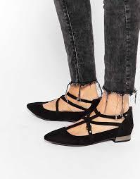 2016 women shoes new look wide fit black strap ballerina flat