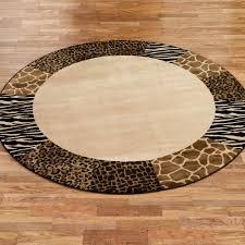 safari collage animal print border round rug
