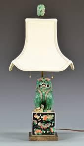 lot 411 chinese polychrome foo dog lamp