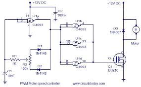pwm motor speed controller electronic circuits and diagram