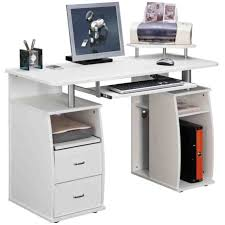 stylish computer desk computer secretary desk with shelf and drawers and white color
