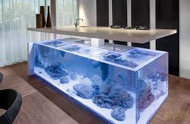 this beautiful kitchen island is also a giant aquarium photos