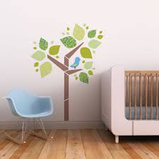 owl baby trendy peas fabric removable reusable wall decals tree birdie 3 colour choices