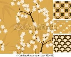 japanese vector seamless patterns set with bamboo