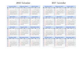2016 and 2017 calendar printable 2 year calendar