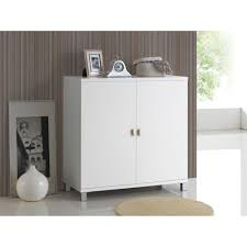White Sideboard With Glass Doors by Baxton Studio Marcy Modern And Contemporary White Wood Entryway
