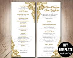 wedding bulletins gold wedding program etsy