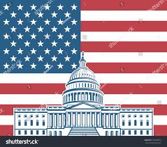 Washington Dc Flag United States Flag Capitol Building Washington Stock Vector