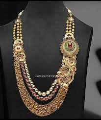 beautiful necklace designs images Beautiful long step necklace design south india jewels jpg