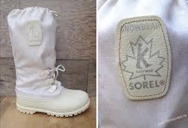 canada women 80 u0027s sorel snowlion white winter snow boots felt
