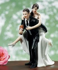 playful football wedding figurine football cake toppers