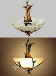 Lighting Fixtures Ceiling Antler Semi Flush Chandelier 3 Ceiling Lights Rustic Style