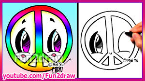 rainbow peace sign how to draw easy cartoons fun2draw drawings