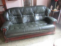 Green Leather Sofa by Sofa 25 Furniture Living Room Black Leather Feat Brown Wooden