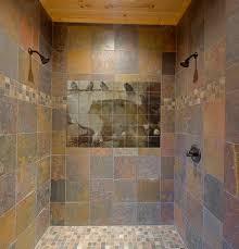 Rustic Bathroom Flooring Wildlife Tile Mural In Shower Contemporary Bathroom San