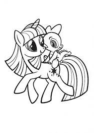 Coloriage Twilight Sparkle avec Spike dessin gratuit à imprimer