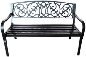 Steel Garden Bench Black Metal Garden Bench Seat Outdoor Seating W Decorative Cast