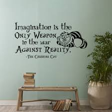 alice in wonderland wall decal quote imagination is the only