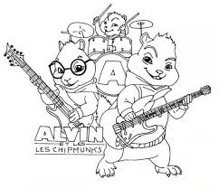 alvin chipmunks playing musical instrument coloring