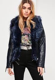 navy faux fur collar faux leather jacket missguided