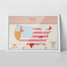 United States Map Poster by Scratch Map Usa Edition