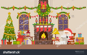 Christmas Living Room by Vector Illustration Christmas Living Room Rocking Stock Vector