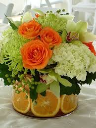 Lime Green Flowers - orange lime green white flowers by digirrl centerpieces