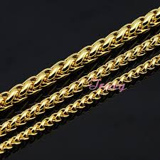 gold braided chain necklace images Fashion 4mm 5mm 6mm mens womens boys yellow simple solid gold jpg