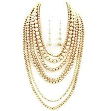 pearls gold necklace sets images Affordable wedding jewelry statement beaded layered jpg