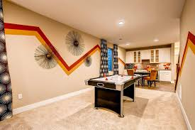 Orange Patterned Curtains Basement Game Room Basement Traditional With Beige Cabinets Brown