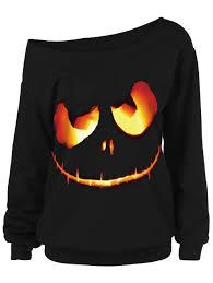 halloween plus size shirts ghost face plus size skew neck halloween sweatshirt black xl in